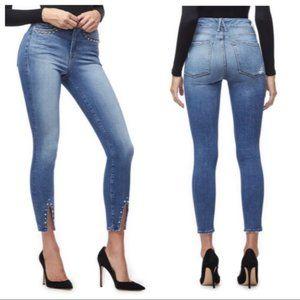 Good American Good Legs Stud Hem Cropped Jeans